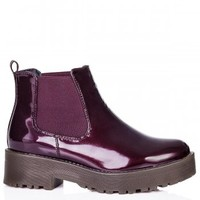 CABLE Heeled Cleated Sole Platform Chelsea Ankle Boots - Bordo Patent
