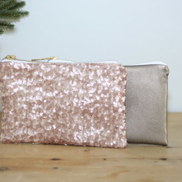 Blush Pink Sequins and Dark Gold Leather Clutch / Rose Gold Cosmetic Case / Fancy Bridesmaid Gift - Almquist Design Studio