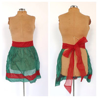 Vintage 1950s Green Red Cotton Voile Christmas Apron Mad Men Fancy Apron Kitchen Decor Diner Housewife Sexy Santa Kitsch Holiday Pin Up Girl