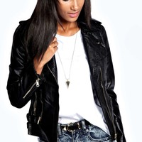 Faye Faux Leather Biker Jacket