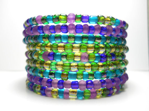 Memory Wire Bracelet Peacock Green Blue Purple Beaded Wrap Bracelet