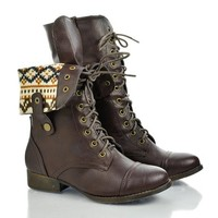 Round Toe Lace Up Two Way Foldable Collar Combat Military Boot
