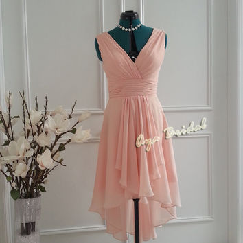 Pale Pink V-neck Bridal / Bridesmaid Dress / Party Dress chiffon Hi-Low hem Pale pink Dress