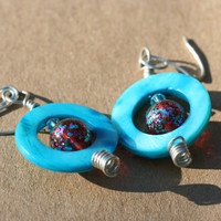 Turquoise Mother of Pearl Circle Earrings with Red Paint Spattered Glass Beads
