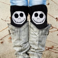 Winter discount sales Jack Skellington Boot Cuffs, Skeleton Accessory, Knit Socks, Legwarmers Black White, Boot Socks, Knit boot cuffs, Croc