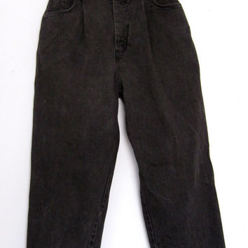 """Vtg 80s Levi's High Waisted Jeans Black Tapered Leg Pleat 8 Distressed Faded 25"""""""
