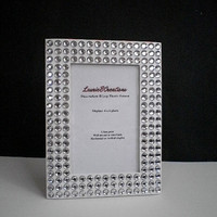 White & Bling Picture Frame -  4 x 6 white w/ clear rhinestones