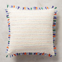 Tasseled Kantha Pillow by Anthropologie Multi 18 In. Square Pillows