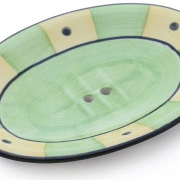 SouvNear Hand-Painted Light Green and Yellow Ceramic Soap Dish - Bathroom Accessories from India