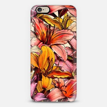 Daylily Drama 2 - a floral illustration pattern iPhone 6 case by Micklyn Le Feuvre | Casetify