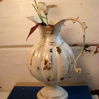 Vintage Brass Jug, painted antique white, distressed, chippy paint finish, flower vase, cottage chic, 8 inches