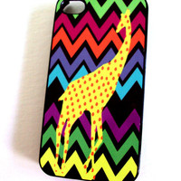 Neon Bright Chevron iPhone 4 / 4S Case Spotted Giraffe