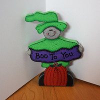 "Halloween Witch Painted Wood ""Boo To You"" Shelf Sitter"