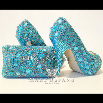 Blue mountain Snow Diamond LUXURY Peep toe and clutch bag SET