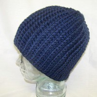 Unisex Crochet Cable Hat Navy Blue Crochet Winter Men Women