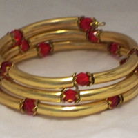Crystal and tubes bracelet, Ruby red