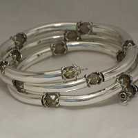 Crystal and tubes bracelet, Smoke