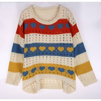 Wool Colorful Stripe Round Collar Long Sleeve Irregular Popular Hollow Sweater  style IN02m031002 in Sweaters - Tops