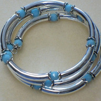 Crystal and tubes bracelet, Opaque Turquoise