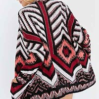 Ecote Patterned Intarsia Open-Front Cardigan-