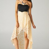 Black and Beige High Low Strapless Dress with Cutout Back