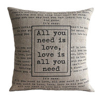 'All You Need Is Love' Beatles Cushion