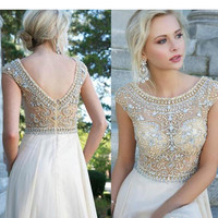Bling Bling A Line Scoop Floor Length Chiffon Illusion Top Prom Dresses Beaded Sequins Popular Prom Gowns Evening Dresses Formal