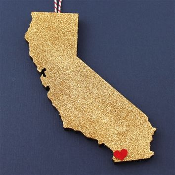 Custom Gold Glitter State Ornament - Spiffing Jewelry
