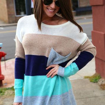 Aqua Color Block Tunic