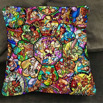 disney all character puzzle pillow case custom zippered pillow case one side and two sides