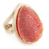 Andara Peach Salmon Druzy Ring - Max and Chloe