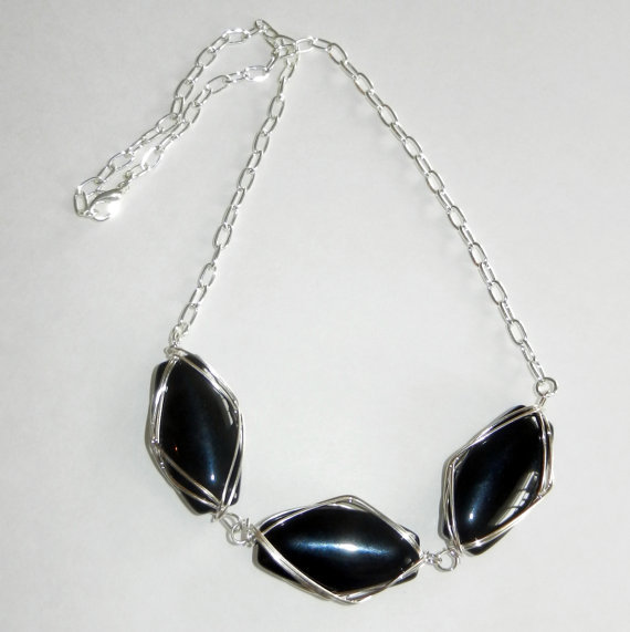 Black Wire Wrapped Glass Oval's Necklace