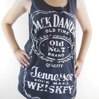 Jack Daniels Shirt -- Old No.7 Brand Sour Mash Tennessee Whiskey Jack Daniels T-Shirt Women Tank Top Tunic Sleeveless Black T-Shirt Size M