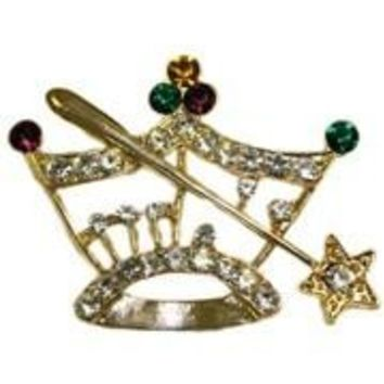 1 5/8in Tall x 2 1/4in Wide Mardi Gras Crown Pin/Brooch W/PGG  And White Rhinestones W/Scepter