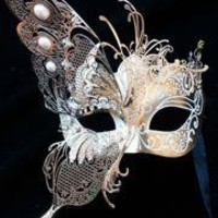Gold Venetian Hand Painted Masquerade Mask with Gold Metal Laser Cut and Crystals