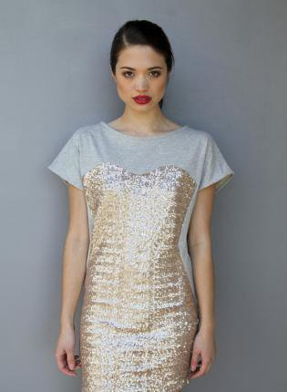 Grey Short Sleeve Mini Dress with Gold Sequin Detail