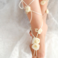 bridal anklet, Ivory flower, Beach wedding barefoot sandals, bangle, wedding anklet, anklet, bridal, wedding