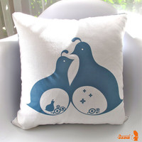 Slate Blue Print  Mama Dada Quail 16 Inches Square Linen Pillow