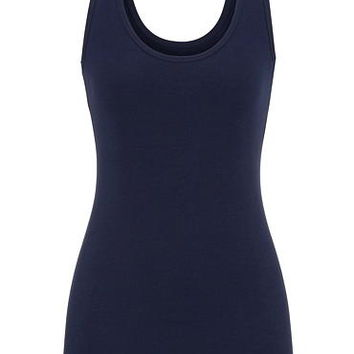 solid scoop neck tank basic color