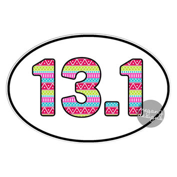 13.1 Half Marathon Sticker Runner Marathon Car Decal Oval Vinyl Window Bumper Sticker Run Colorful Cute Tribal Pattern Pink Green Blue Girly