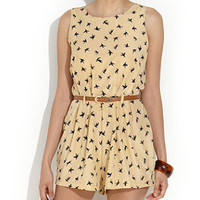 Parisian Cream Bird Print Skater Playsuit