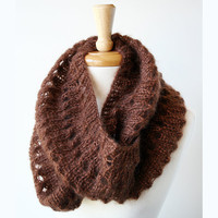 Knit Snood Cowl - Kid Mohair and Silk - Fall Winter Fashion- Chocolate Brown