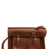 Upwardly Mobile Satchel in Brown - 14&quot; | Mod Retro Vintage Bags | ModCloth.com