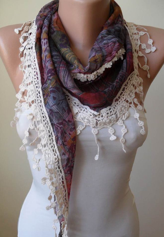 Dark Purple Scarf with Beige Trim Edge - Triangular