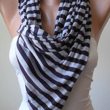 Grey and Dark Purple Striped Scarf - Combed Cotton