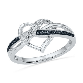 Enhanced Black and White Diamond Accent Swirled Heart Ring in Sterling Silver