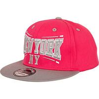 bright pink NY print grey peak trucker hat