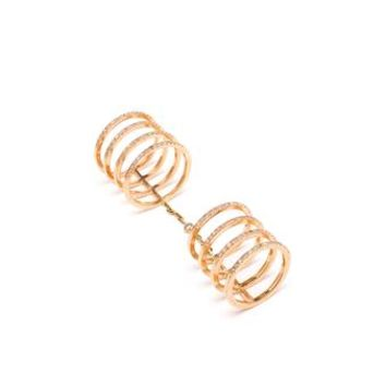 WOODBURY   Eternal Circle 18k Gold and Diamond Double Ring   Browns fashion & designer clothes & clothing