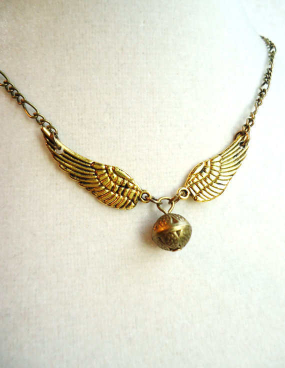 Harry Potter Golden Snitch Necklace, Steampunk Keepsake