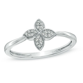 Diamond Accent Flower Petals Ring in Sterling Silver